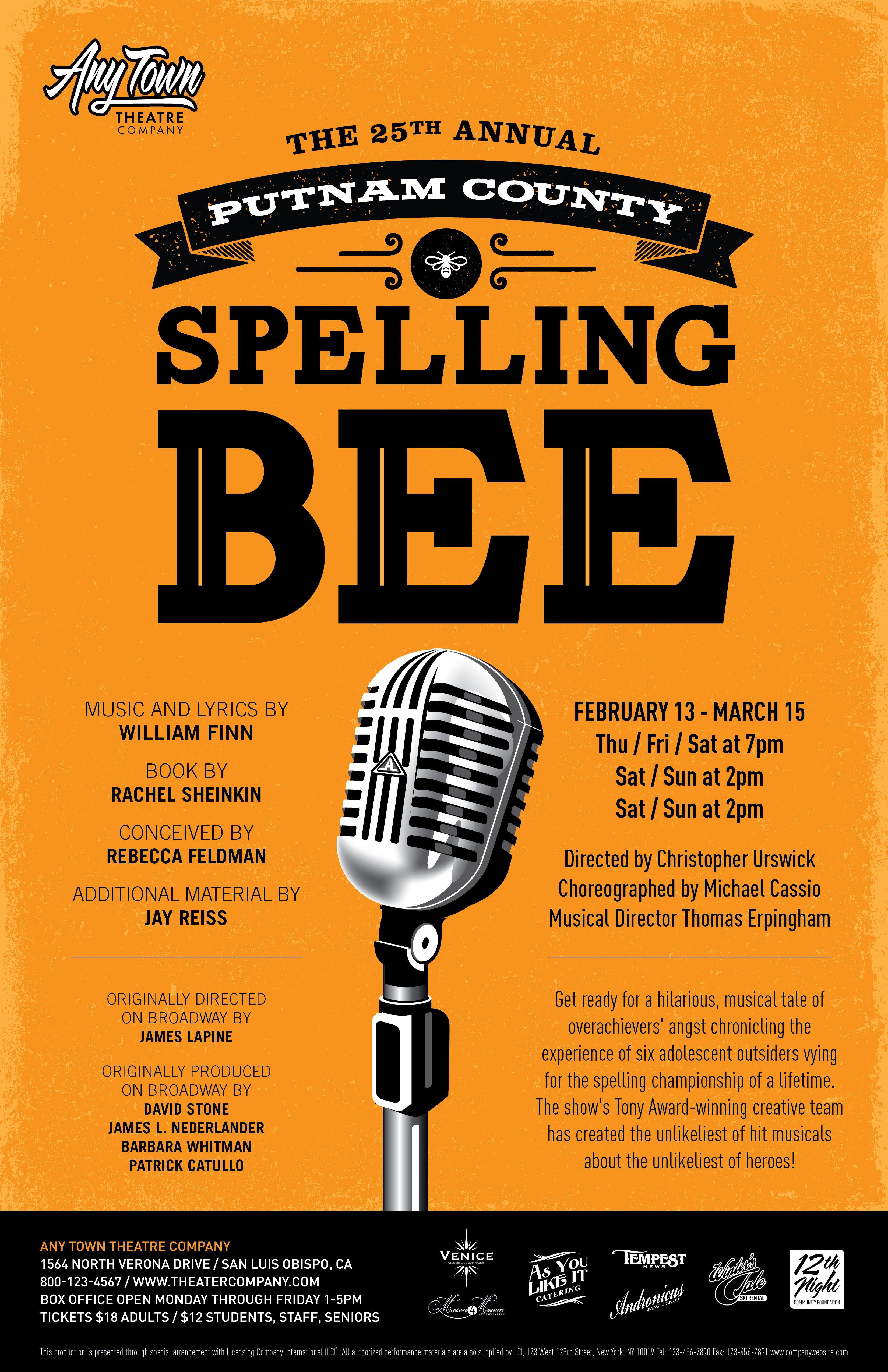 Poster design for quiz - Subplot Studio Customizable Poster Design The 25th Annual Putnam County Spelling Bee