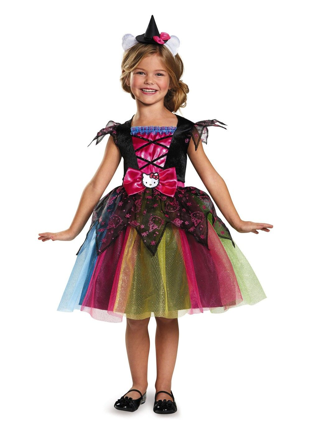 the girls hello kitty witch deluxe costume is a great character and halloween outfit sold by wonder costumes - Halloween Hello Kitty Costume