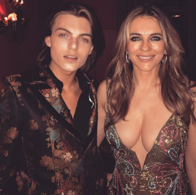 Elizabeth Hurley 52 Slammed For Wearing Inappropriate Plunging Dress With 16 Year Old Son Elizabeth Hurley Damian Hurley Plunge Dress