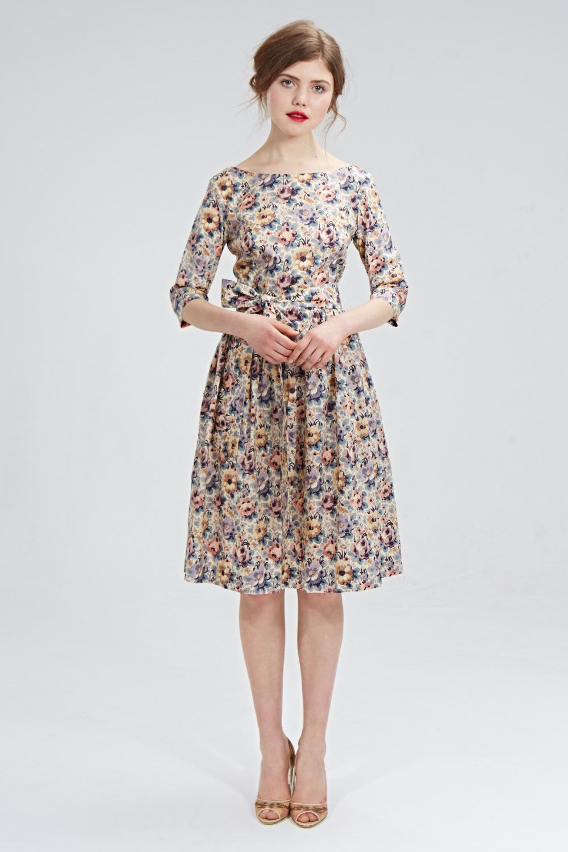 Floral midi dress 1950 floral dress Garden party dress Tea length ...