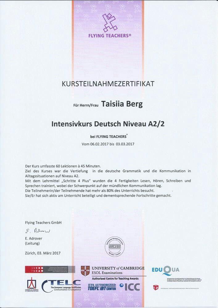 Deutsch Zertifikat A2 aus die Schweize Schule | Certificates ...