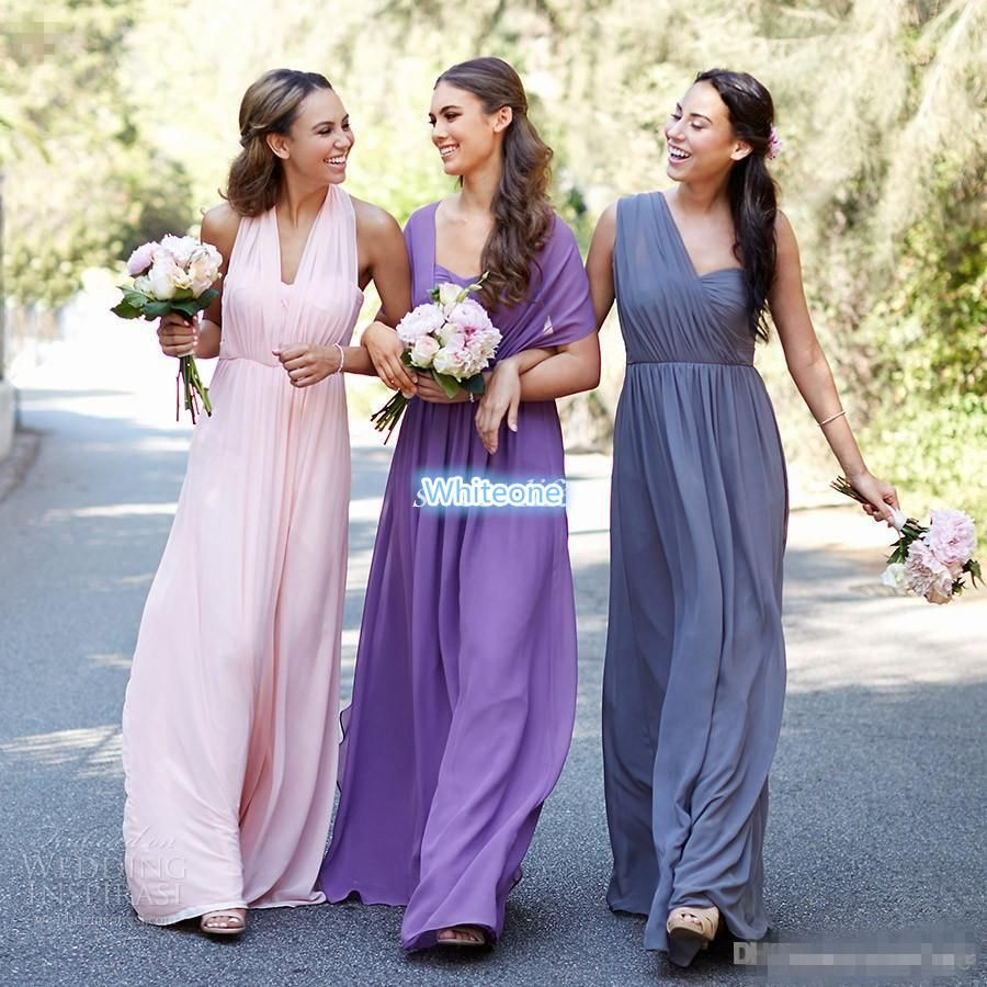 Convertible Style Bridesmaid Dresses Purple Gray Pink Chiffon ...