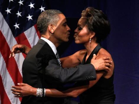 Michelle Obama S 50th Birthday Michelle And Barack Obama Kiss