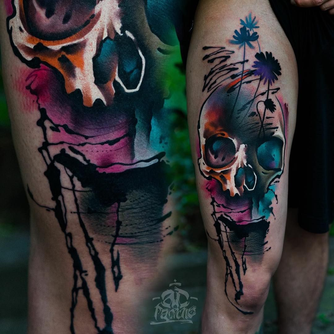 50 Truly Artistic Watercolor Sleeve Tattoos Skull Sleeve Tattoos