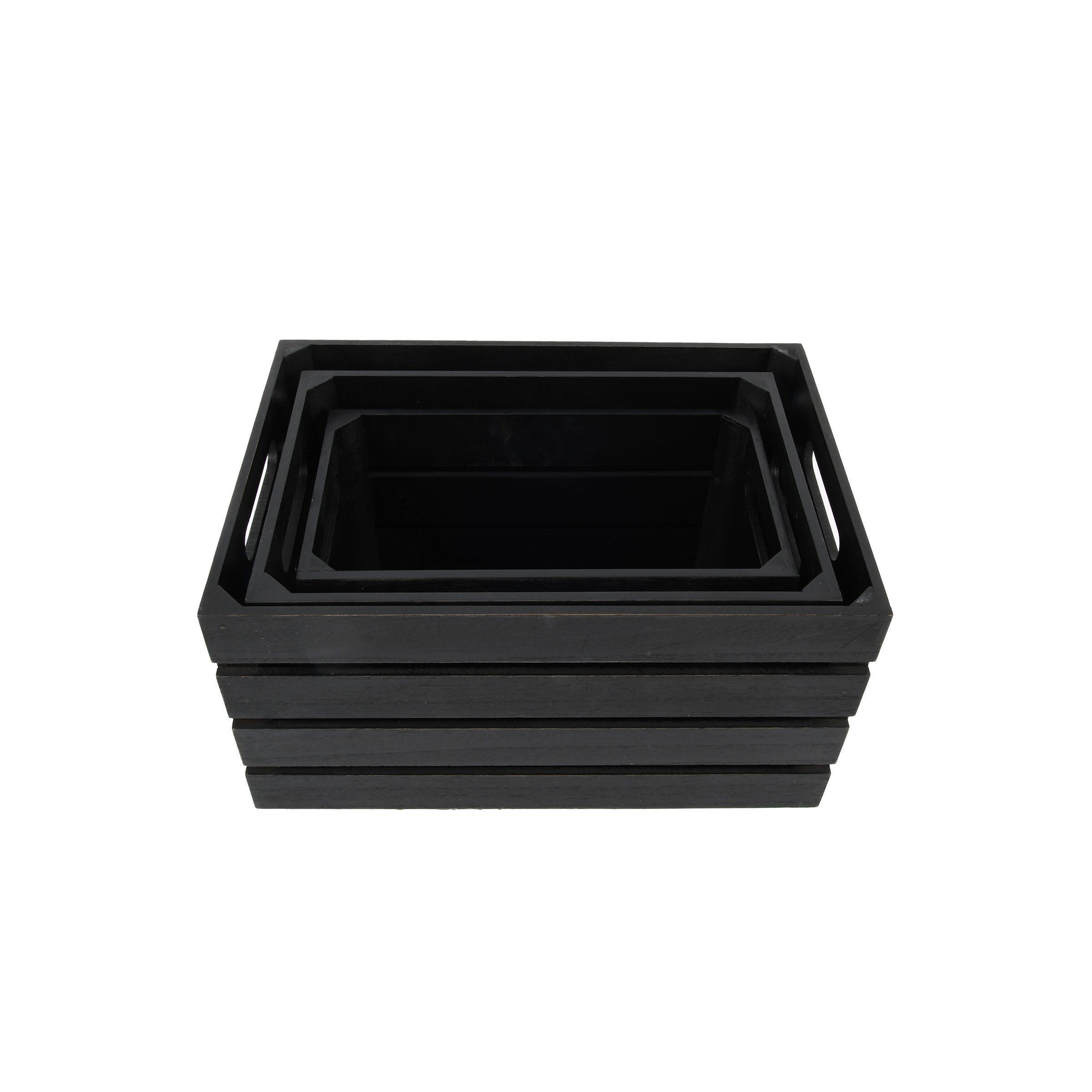Photo of Distressed Black 13.4'W x 9.5'H Nesting Storage Crates, Set of Three