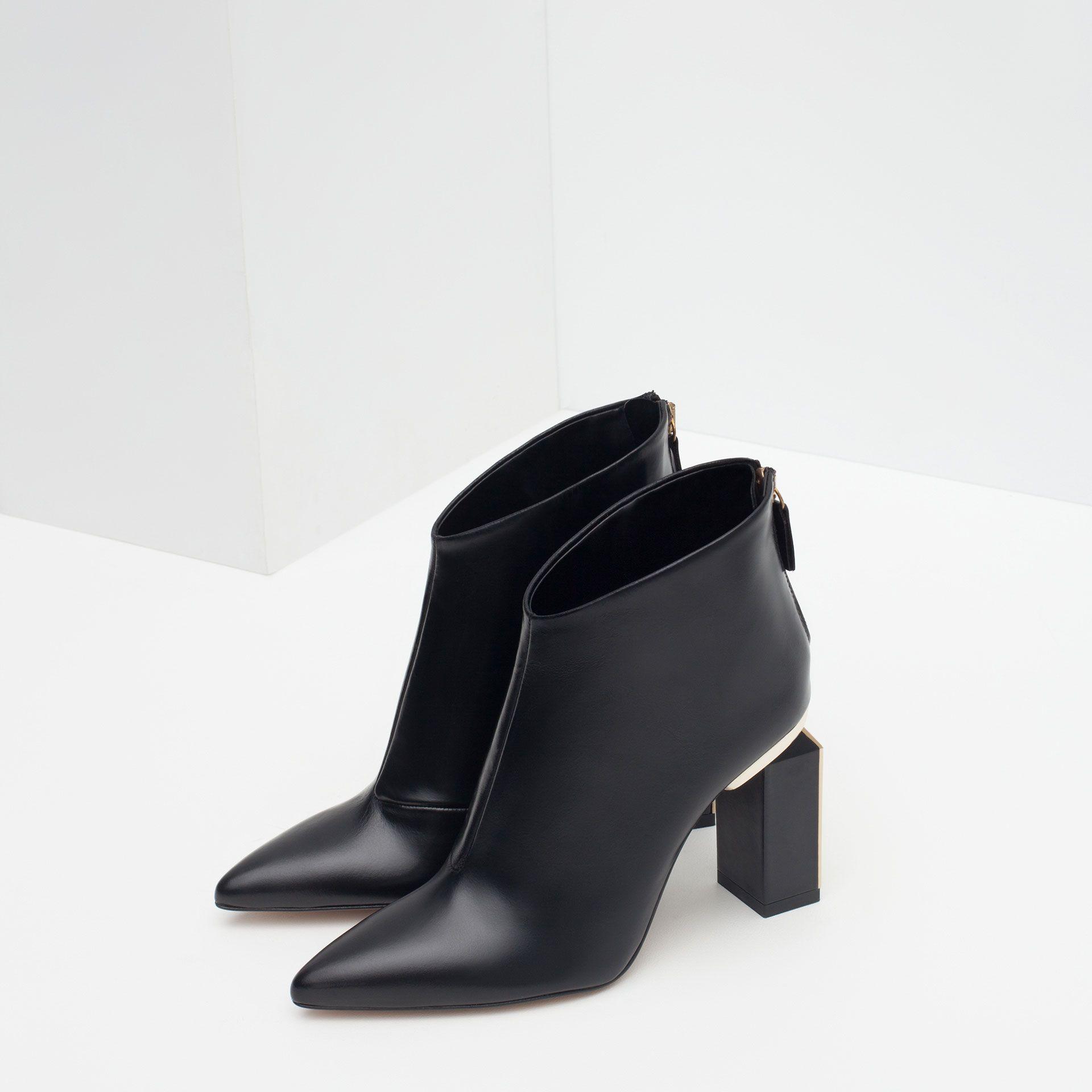 bottines À talon cuir mÉtal - tout voir - chaussures - femme