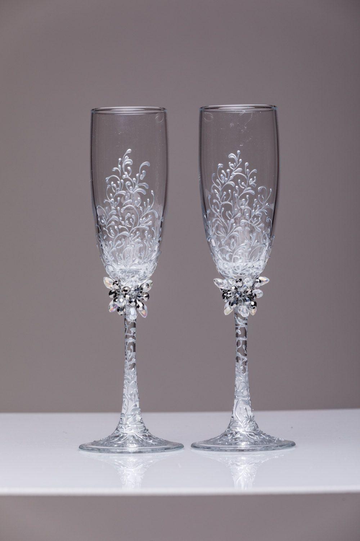 Hedendaags gepersonaliseerde bruiloft glazen Toasting fluiten silvcer bril JL-48