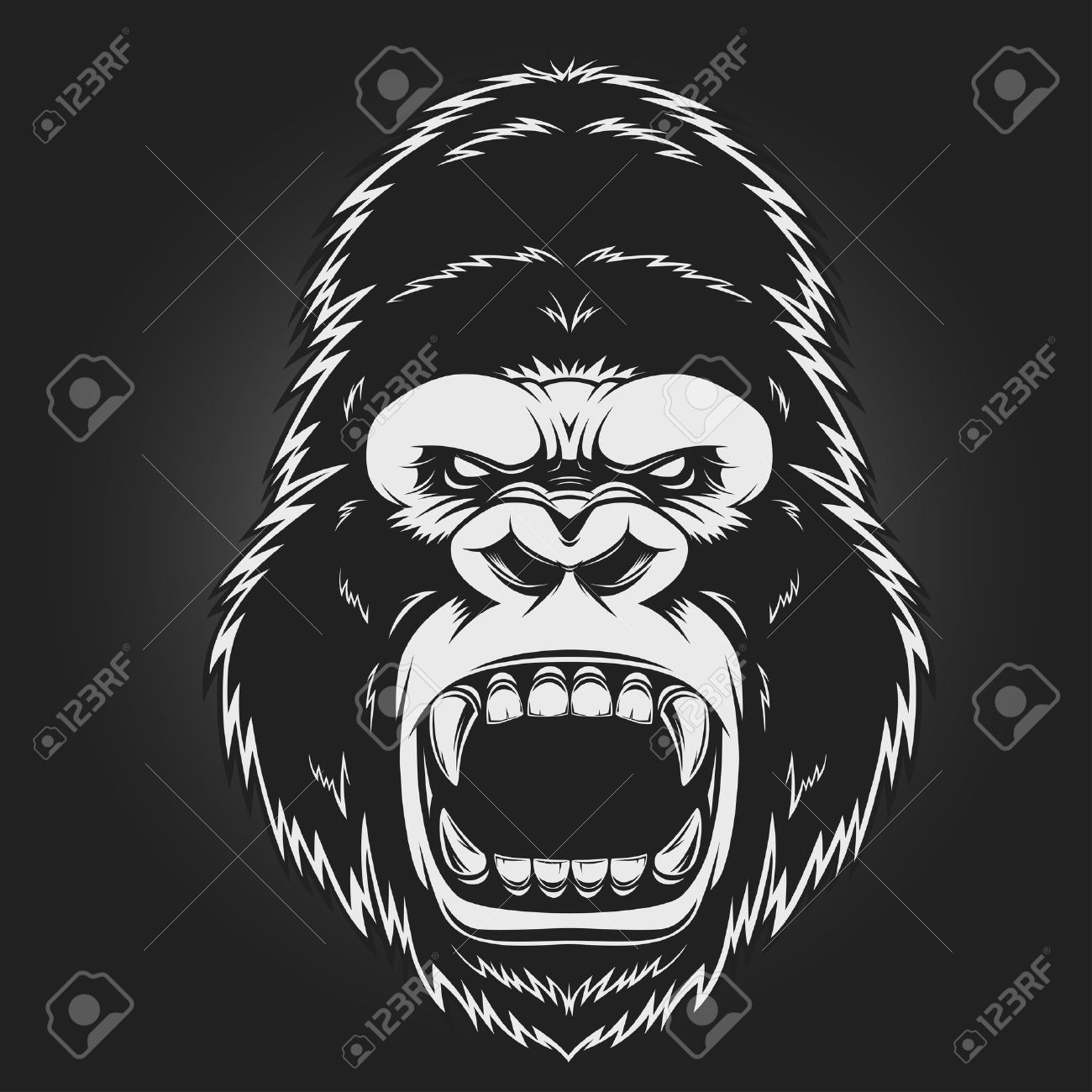 Angry Gorilla Head Vector Illustration Illustration Spon