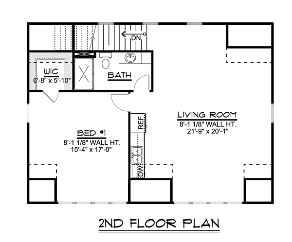 Contemporary Style 3 Car Garage Apartment Plan Number with 1 Bed 1 Bath