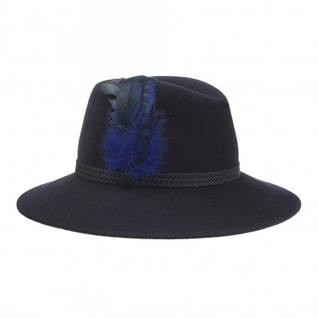 efa13947 Midnight blue Willow Fedora hat made from 100% rabbit fur felt with black  braid and feather band trim by Penmayne of London.