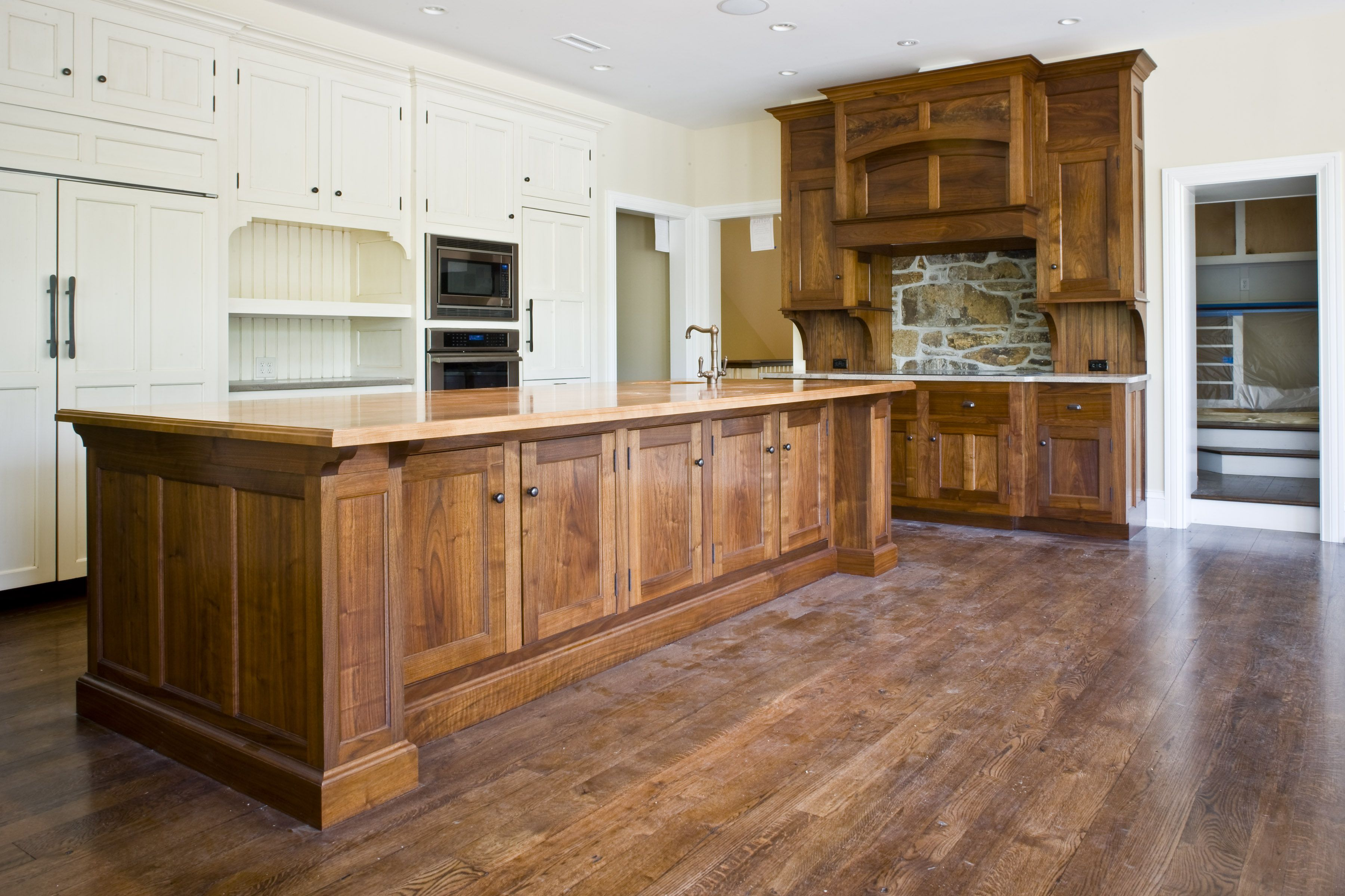 Combining painted cabinets and stained cabinets   Small ...
