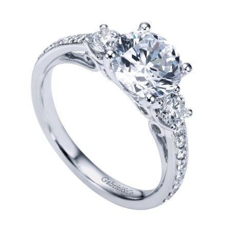 Gorgeous Three Stone Engagement Ring With Scrollwork Detailing Weddi Three Stone Diamond Rings Engagement Carved Engagement Ring Three Stone Engagement Rings