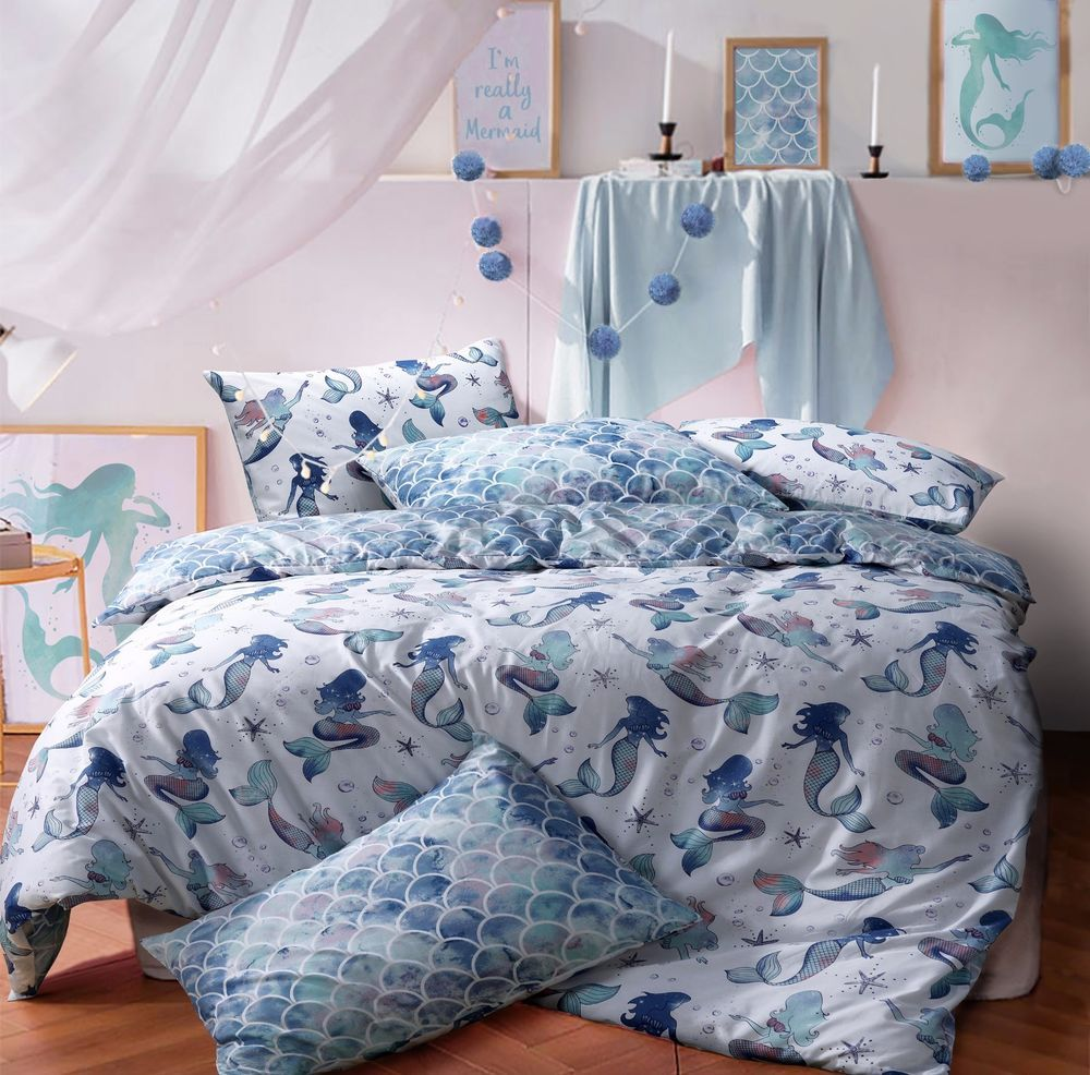 Details About Mermaid Queen Blue Reversible Duvet Cover Quilt Bedding Set Pillowcases All Size