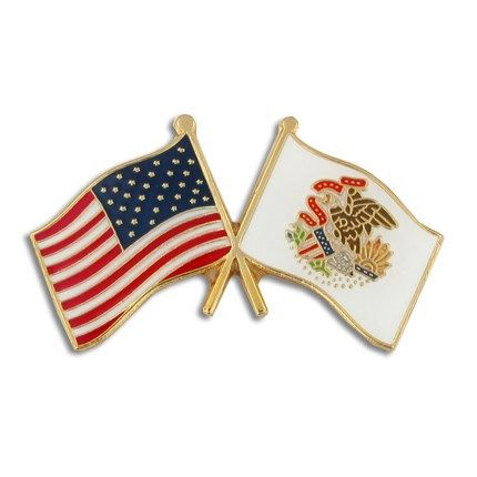 PinMart State Shape of Illinois and Illinois Flag Lapel Pin