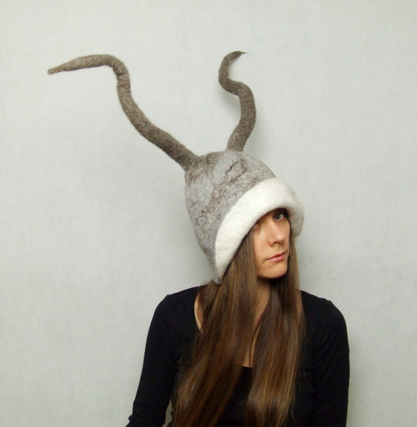 528f175574d4a0 Bull Horns Antlers Hat - Goat Antler Hat - Animal Hat - Felt Hats with  Antlers - Pagan Tribal Costume Hats - Cosplay LARP by FeltYourself on Etsy