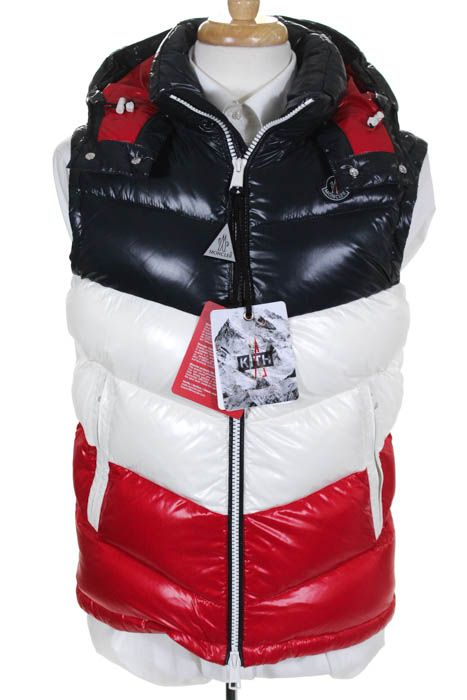 1cbfea22541e Moncler X Kith Mens Red White Blue Color Block Pelat Down Vest Size ...