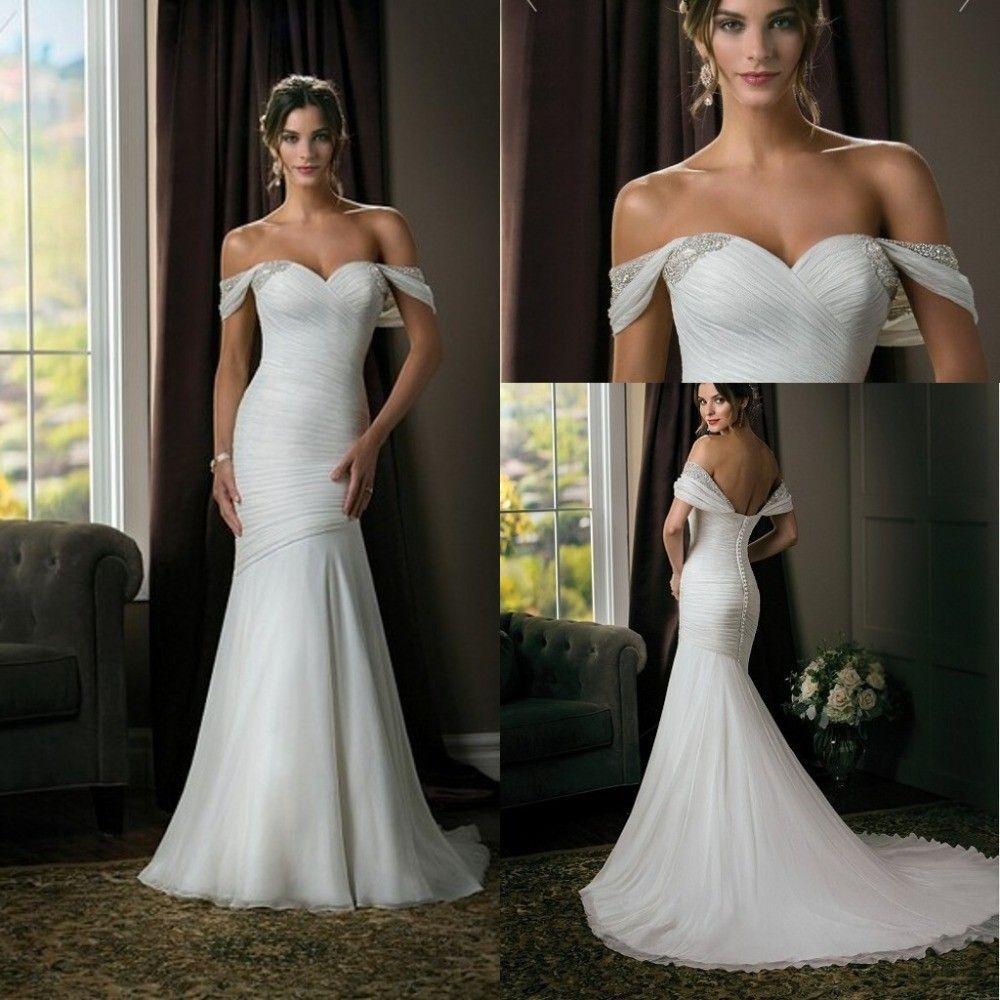 Sweetheart Off Shoulder Chiffon Mermaid Wedding Dress