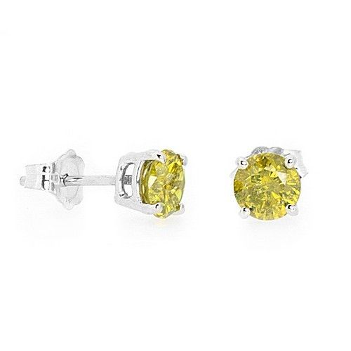 1 4 Carat Fancy Yellow Diamond Stud Earrings 14k White Gold Canary Yellow Diamonds Diamond Earrings Studs Yellow Diamond