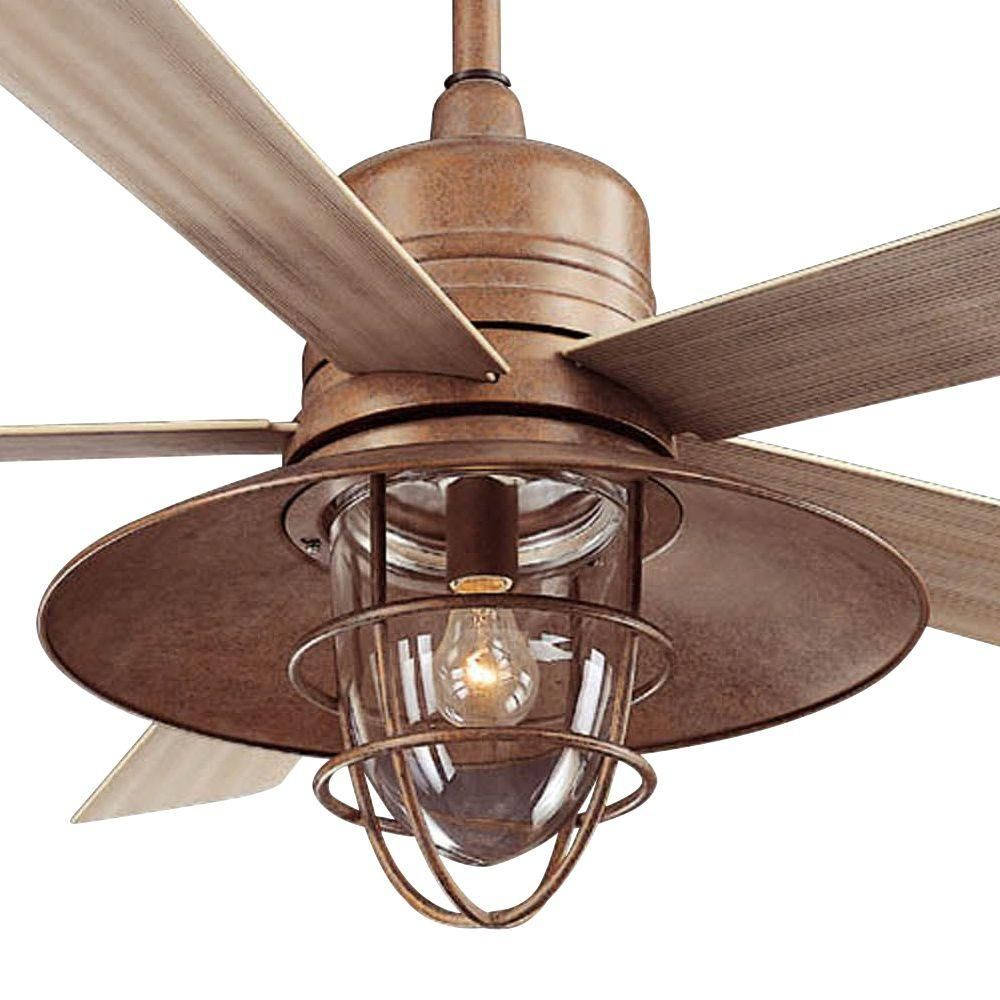 Hampton Bay Metro 54 in. Rustic Copper Indoor/Outdoor Ceiling Fan ...