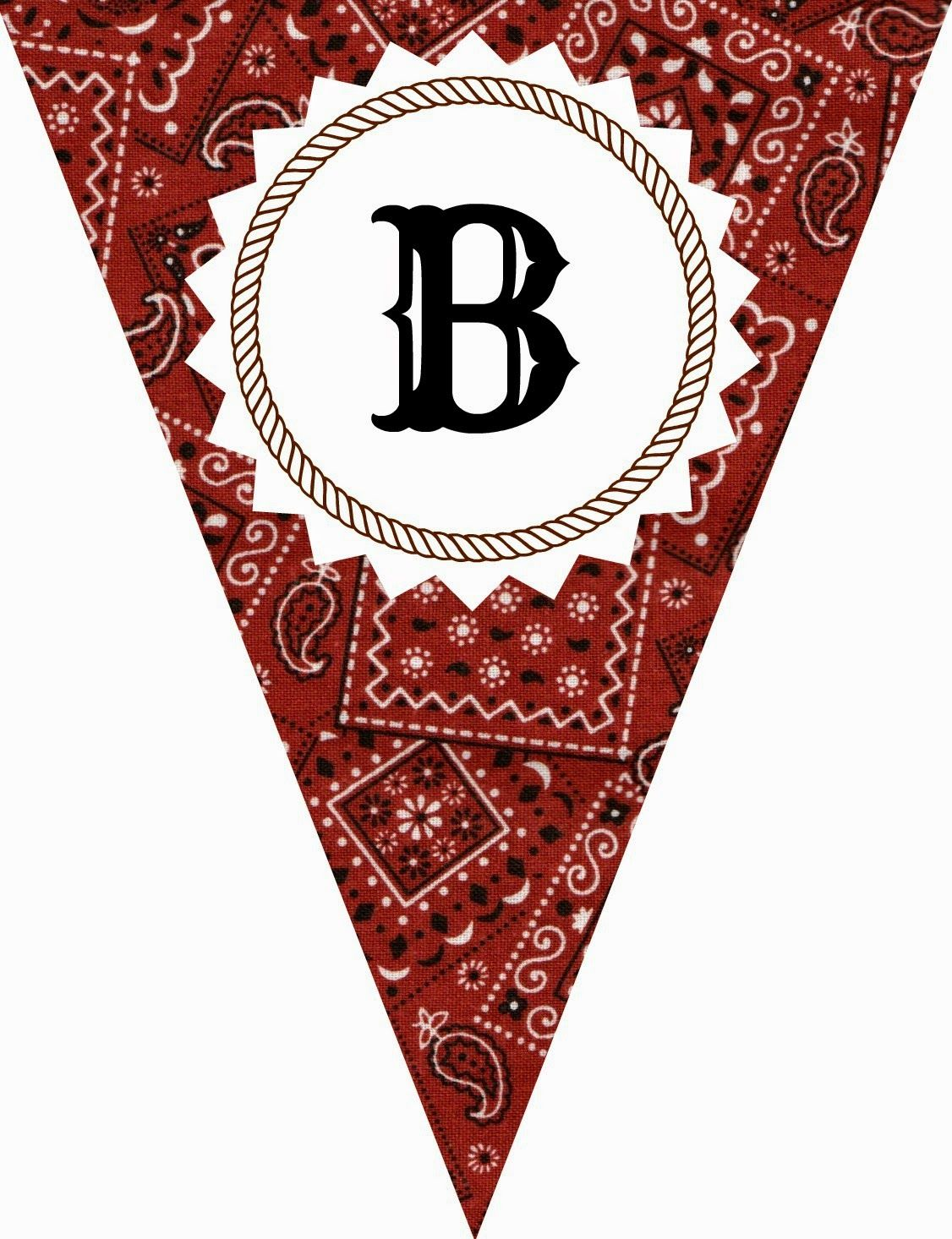 62993f23da4c1 FREE Printable Western-Themed Pennant Banner (includes all letters and  numbers)