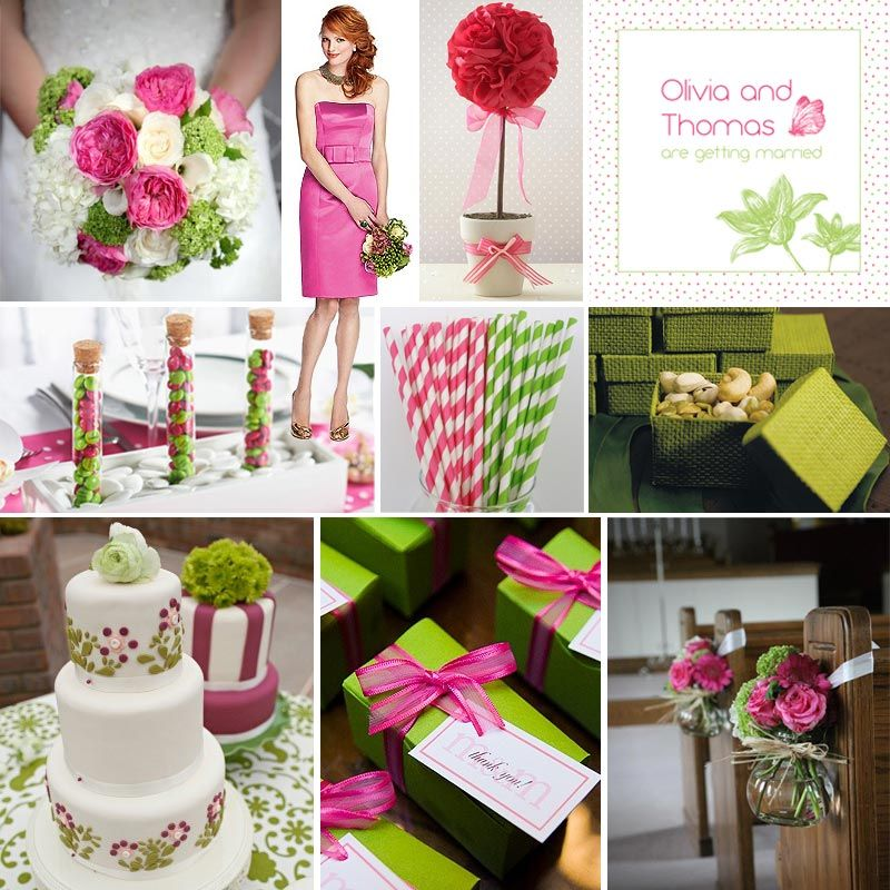 What Colors Go With Hot Pink pink and green wedding ideas | 800px | wedding ideas | pinterest
