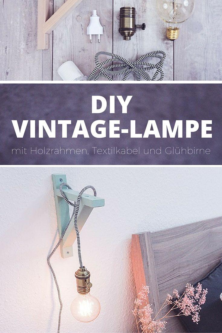 diy lampe mit holzrahmen textilkabel und gl hbirne sch nes licht im vintage stil in 2018. Black Bedroom Furniture Sets. Home Design Ideas