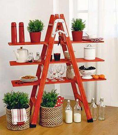 Materiales: escalera, tablones de madera, barniz y pintura pasos ...