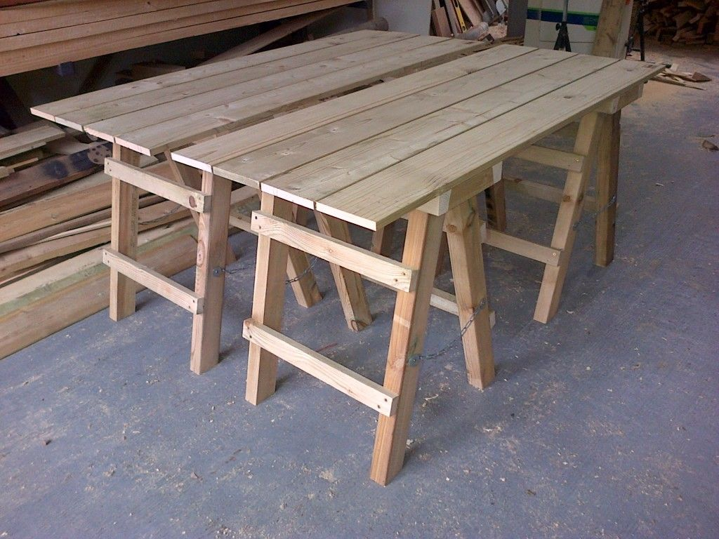Vintage Wooden Trestle Table With Folding Metal Legs Ex Marquee 2 Tables And