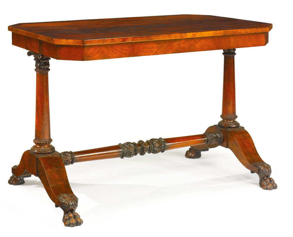 C1820 Fine And Rare Classical Carved And Figured Mahogany Library Table Boston Massachusetts Circa 1820 E American Furniture Library Table Antique Furniture