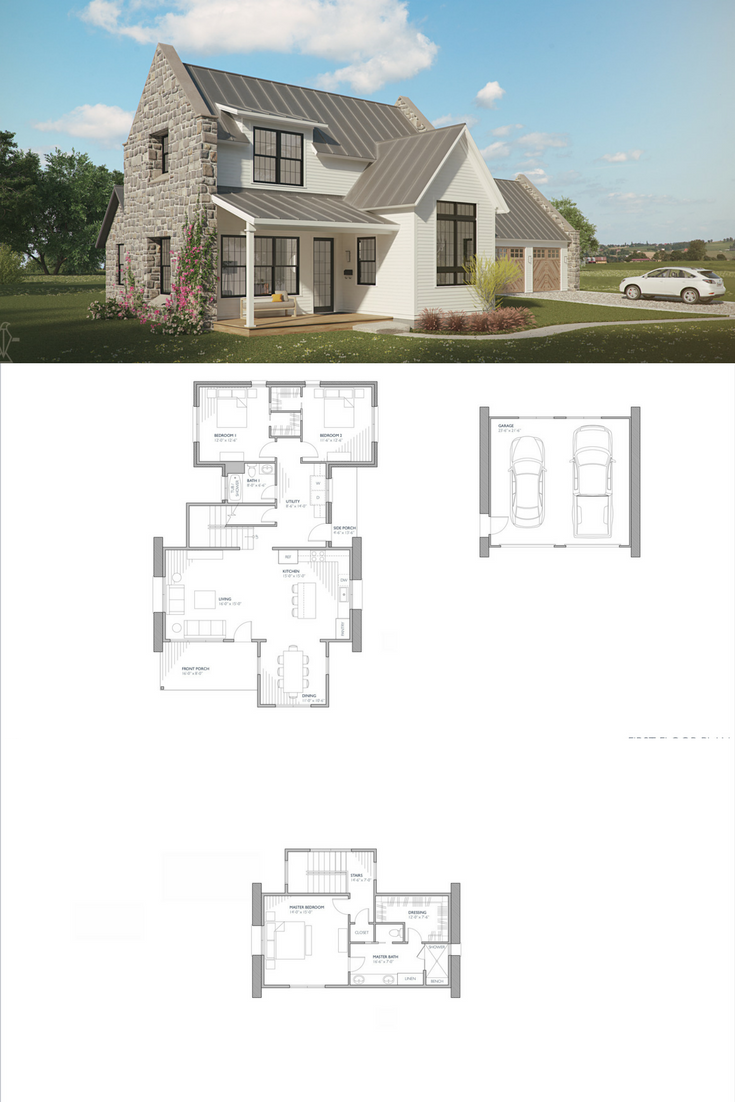 Brune European Farmhouse Minimal House Design Open Floor House Plans