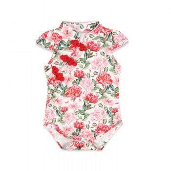 7773f031159d Elegant Floral Cheongsam Bodysuit in Pink for Baby Girl