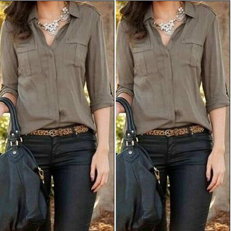 79a1a45e5 Encontrar Más Blusas y Camisas Información acerca de 2015 mujeres del  ejército verde atractivo de moda suelta camisa Casual ropa Blusas blusa  femenina ...