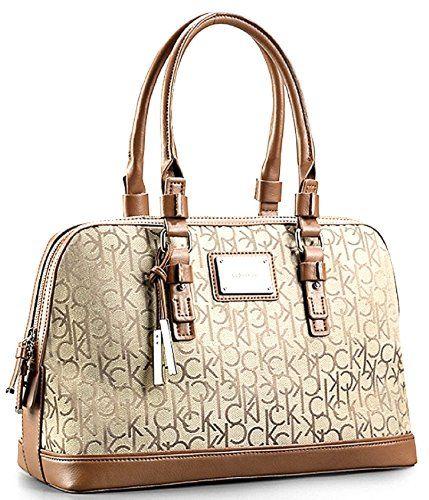 Calvin Klein Logo Jacquard Print Dome Satchel Handbag (Natural) Calvin Klein  http   82ba88a08f530