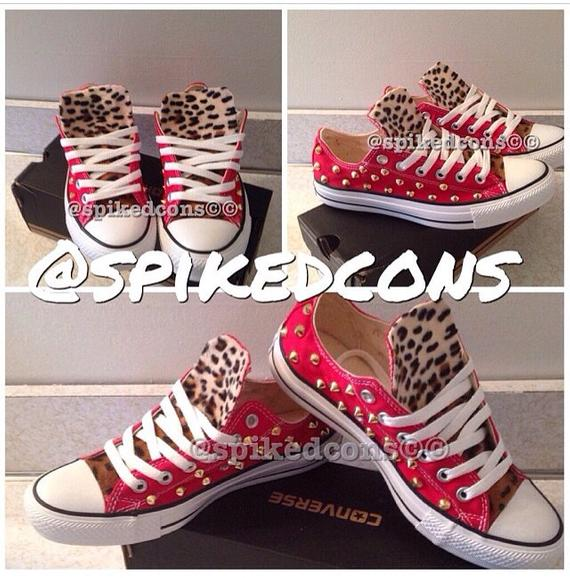 b00fcf63a85a4 Adult Leopard Studded Converse   Products   Studded converse ...