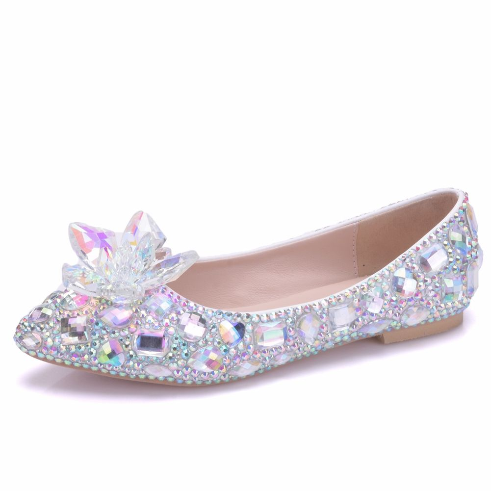 Sparkly Silver Wedding Shoes 2018 Crystal Rhinestone Pointed Toe Flat Silver Wedding Shoes Wedding Shoes Closed Toe Wedding Shoes