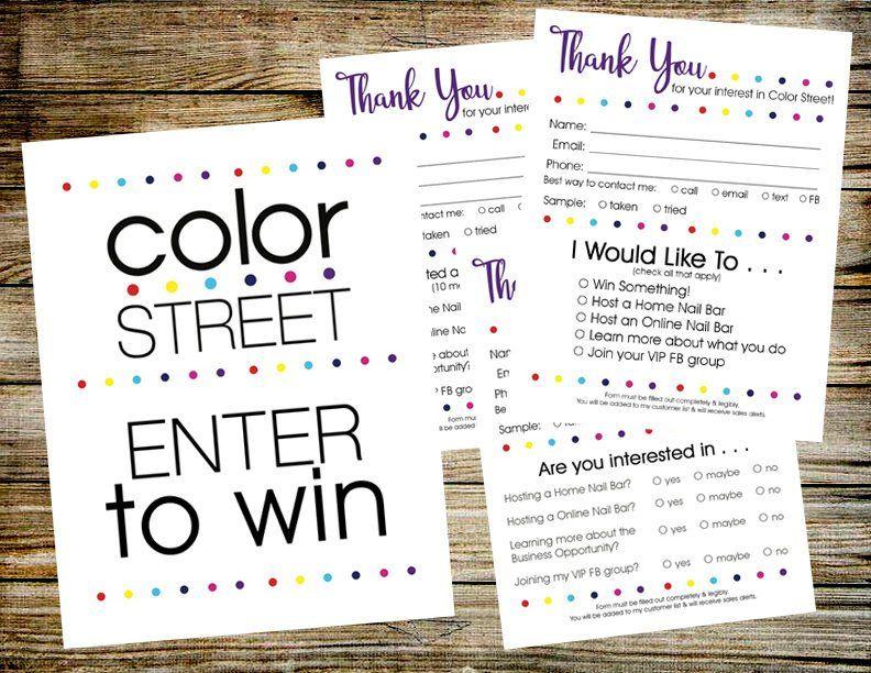 COLOR STREET Enter to Win Door Prize Drawing Slip Raffle