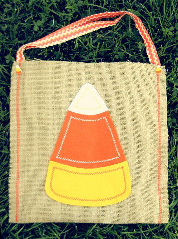 Candy Corn Trick or Treat Burlap Halloween Bag - Cute - decorate halloween bags