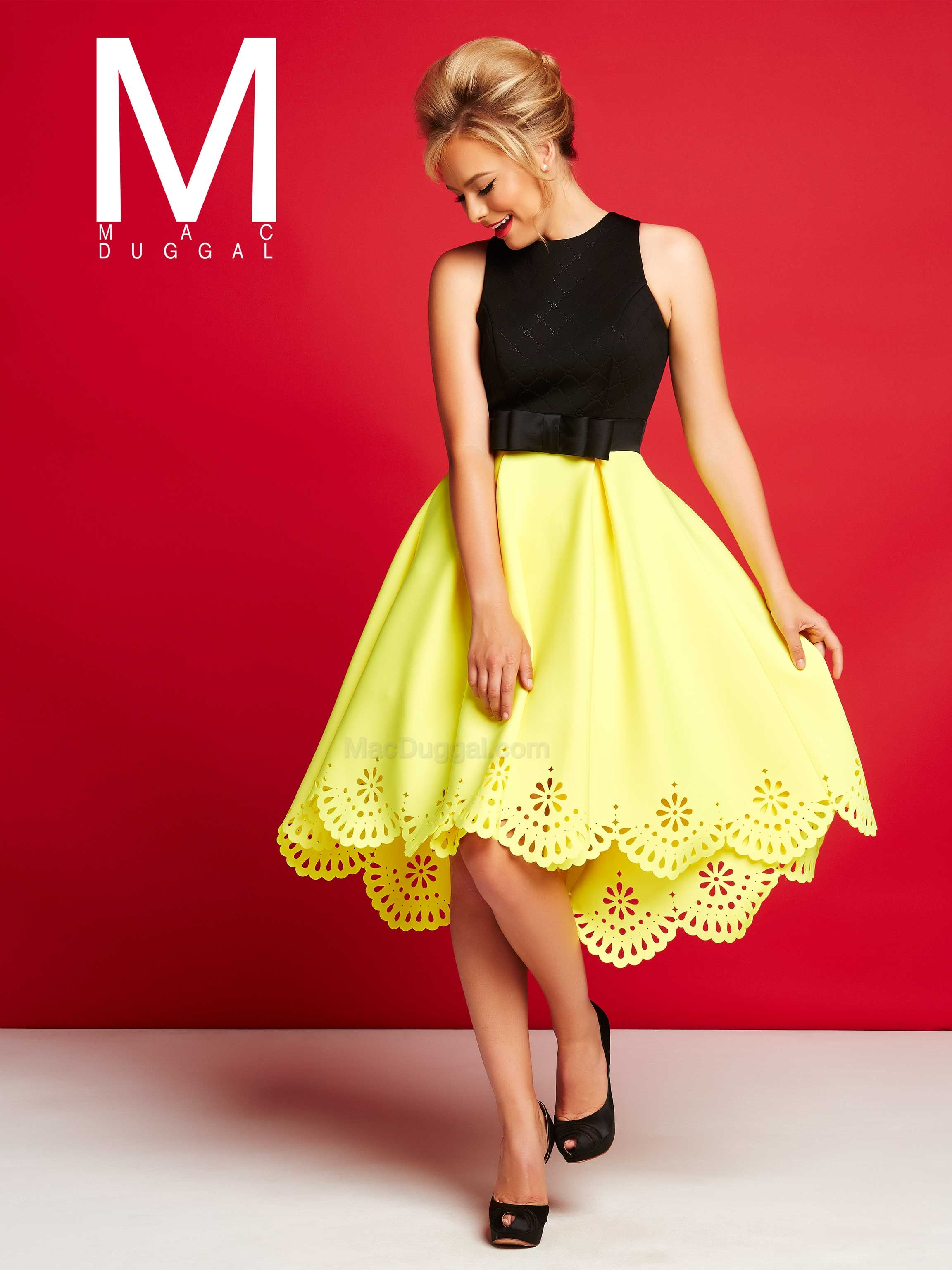 Black and yellow cocktail dresses by mac duggal