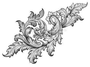 Antik Alte Barocke Rahmen Blattrolle Blumenverzierung Gravur Grenze