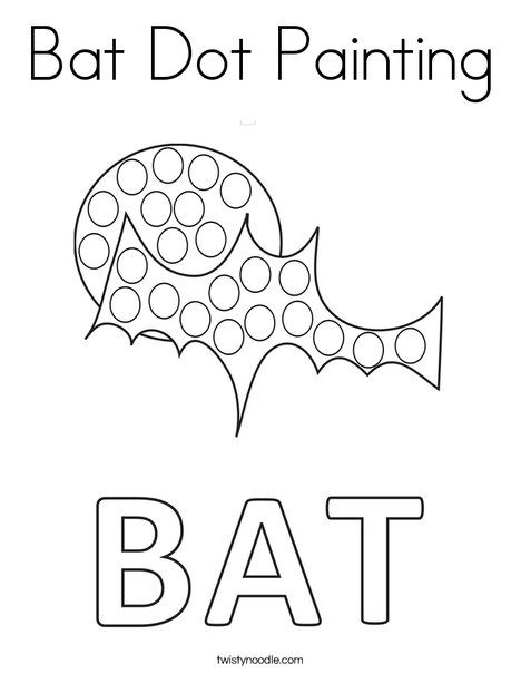 Bat Dot Painting Coloring Page - Twisty Noodle (With ...