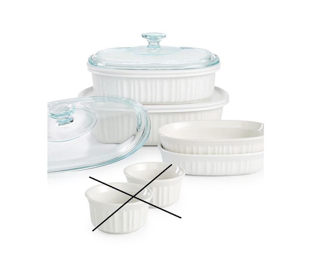 Details About Corningware French White 8 Piece Stoneware Bakeware