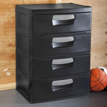 Sterilite 4 Drawer Cabinet Black Walmart Com Plastic Drawer Organizer Plastic Drawers Drawer Organisers