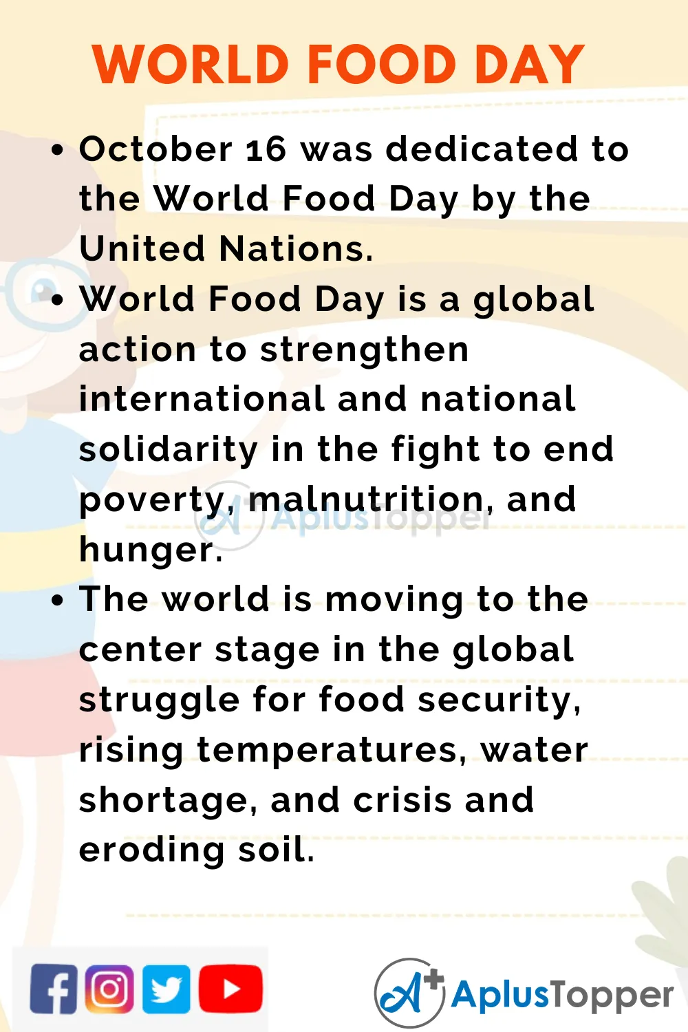 10 Line On World Food Day For Student And Children In English A Plu Topper Essay Security