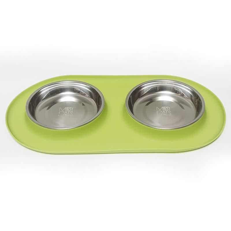 Messy Cats Stainless Steel Double Cat Feeder with Non-Slip Silicone Base