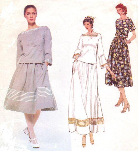 70s Christian Dior Womens Pullover Square Neckline Boho Top & Full ...
