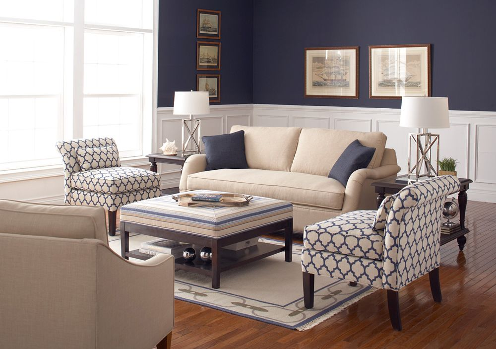Sophisticated Coastal All Available At The Beach Home Tan Living Room Navy Living Rooms Blue Living Room