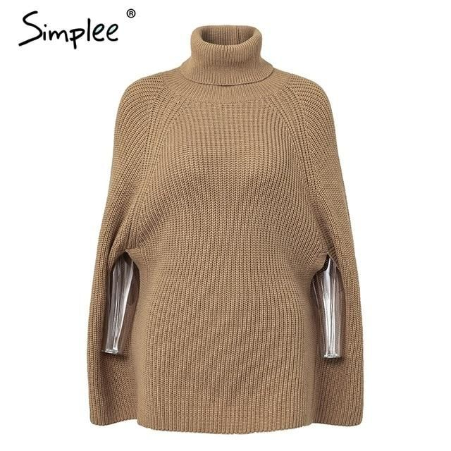 c1ee259ea02d Women's Knitted turtleneck cloak sweater. Simplee Knitted turtleneck cloak sweater  Women Camel casual pullove women sweaters and pullovers ...