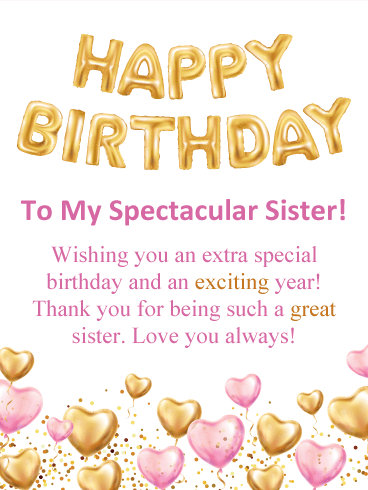 Pink Golden Happy Birthday Card For Sister Birthday Greeting Cards By Davia Birthday Greetings For Sister Happy Birthday Wishes Sister Sister Birthday Card