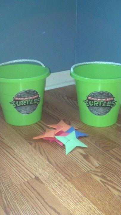 Tmnt Game Throwing Stars Into Buckets Bad Pin Ninja Turtles Birthday Party Ninja Turtle Theme Party Turtle Party