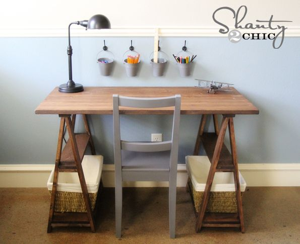 Sawhorse styled desk by Shanty2Chic on HomeTalk - love the metal influences!